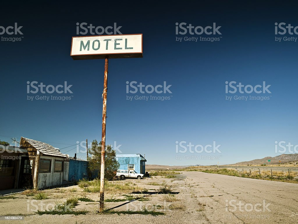 Old run down motel sign stock photo