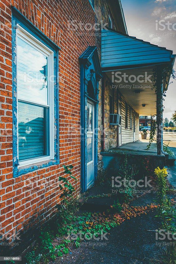 Old, run-down house in Abbottstown,  Pennsylvania. stock photo