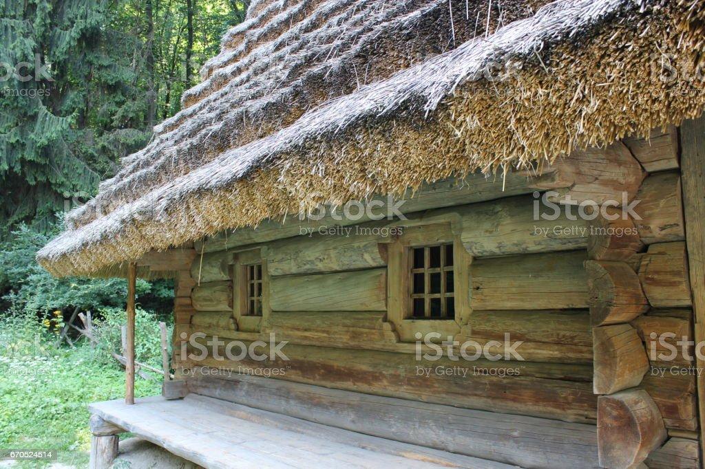 old rural house in Carpathian region in Ukraine stock photo