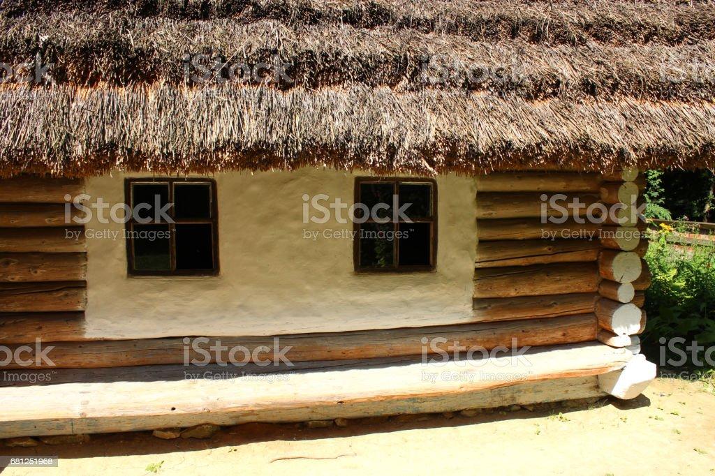 old rural house in Carpathian region stock photo
