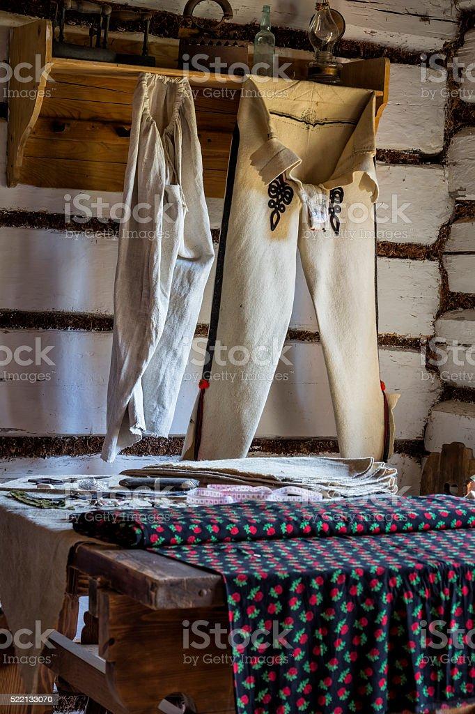 Old rural taylor workshop stock photo
