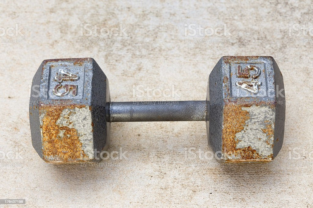 Old & Rush metal dumbbell royalty-free stock photo