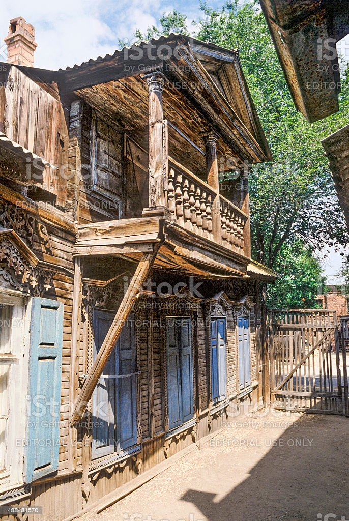 Old russian  balcone with  canopy stock photo