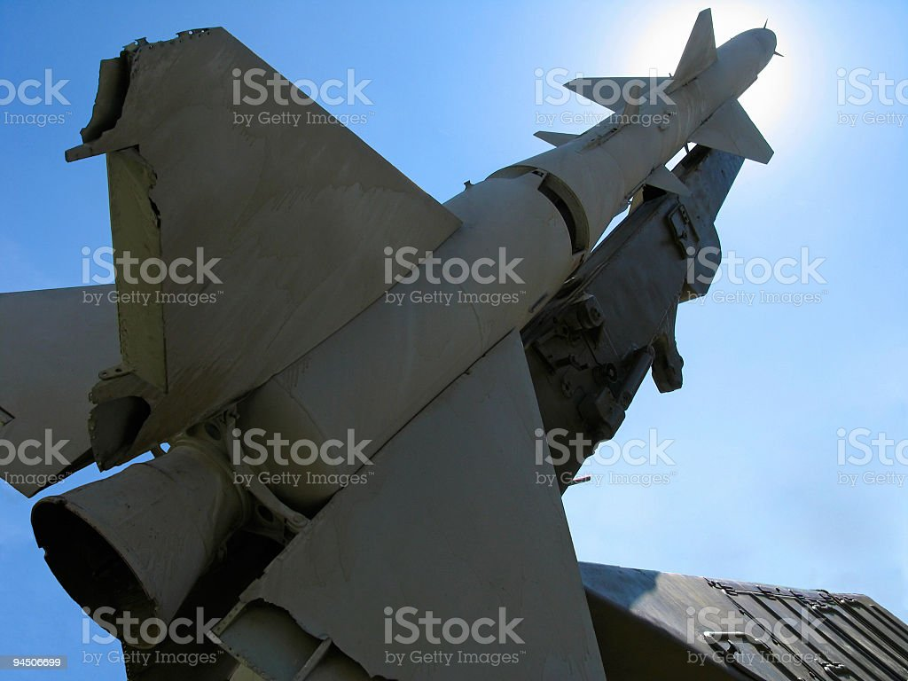 Old russian ballistic missile stock photo