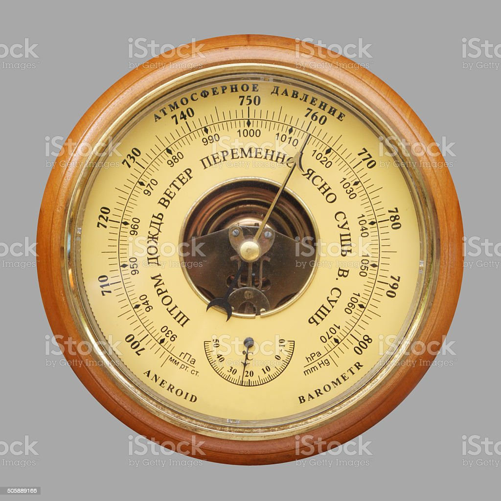 Old russian barometer stock photo