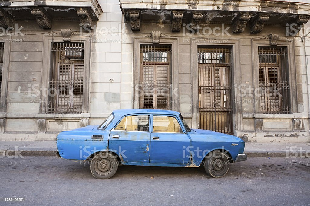 Old Russian car in Havana, Cuba royalty-free stock photo