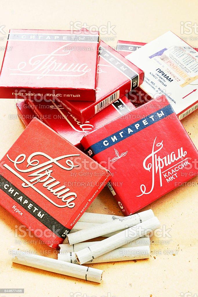 Old Russian cigarettes stock photo