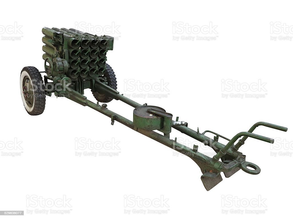 Old russian mobile rocket launcher isolated over white stock photo