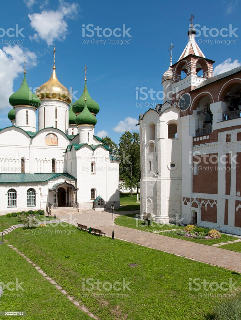 Old Russian orthodox church and bell tower stock photo