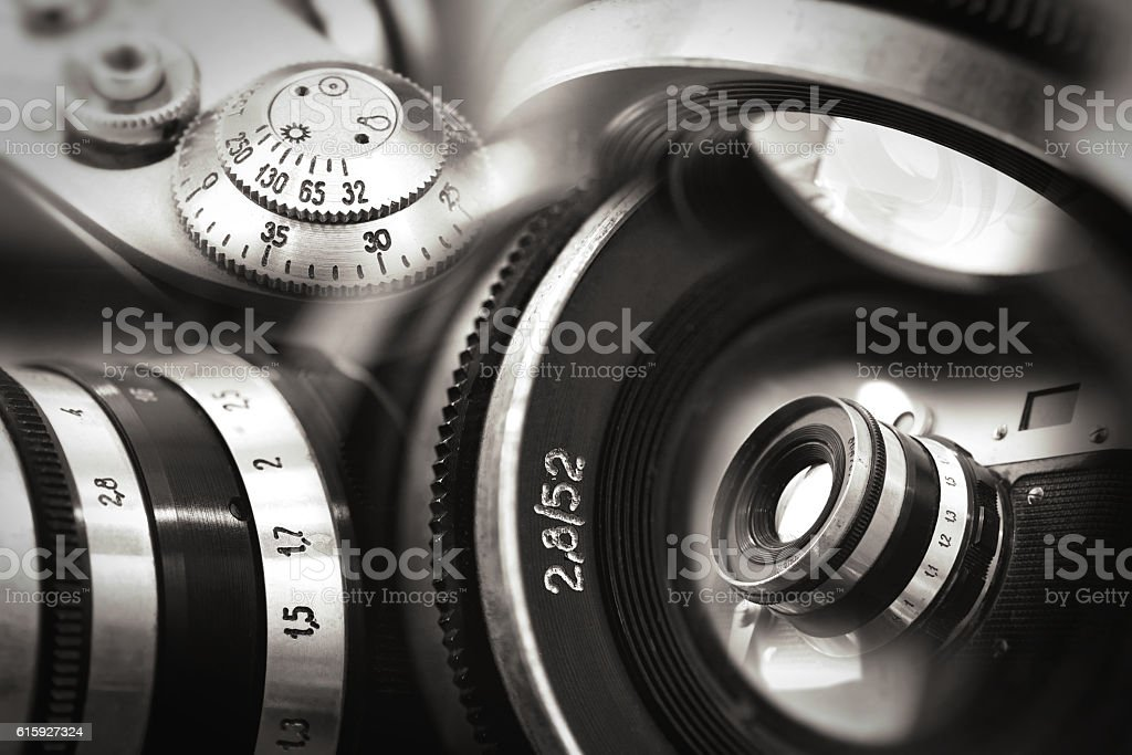 Old russian photo camera montage stock photo