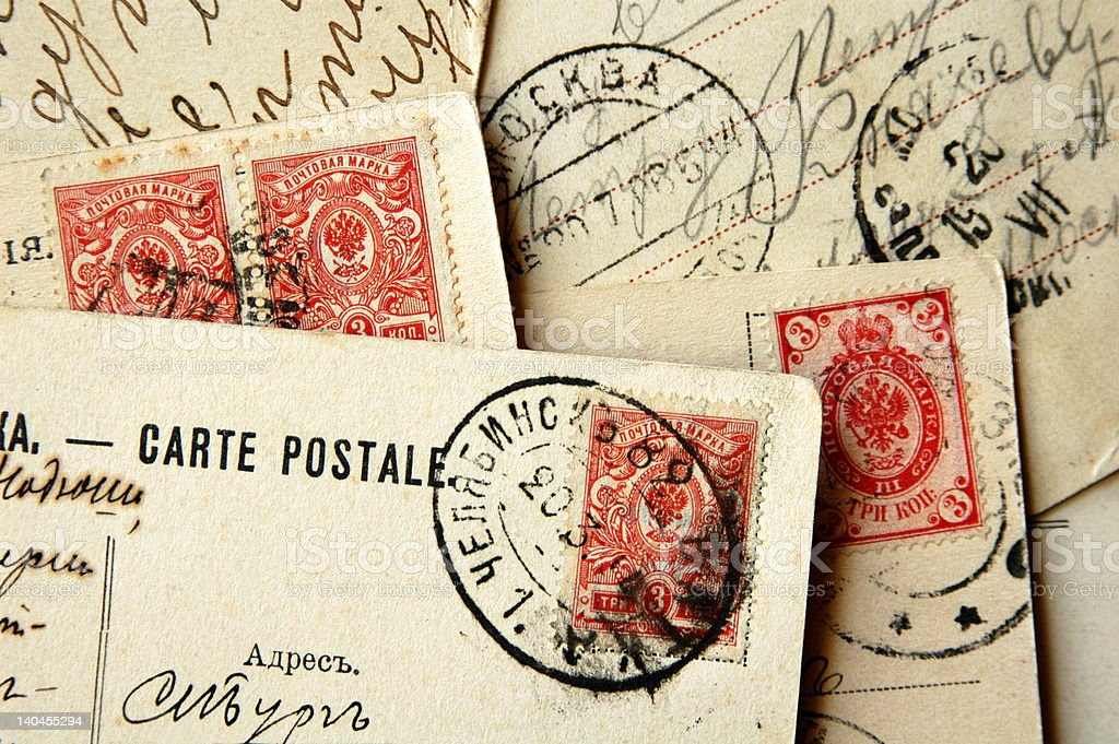 Old Russian Postcards royalty-free stock photo