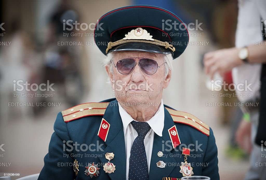 Old russian war veteran stock photo