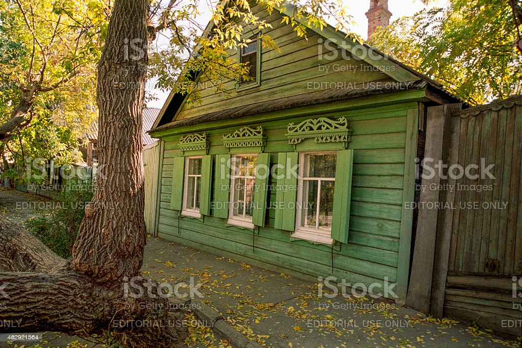 Old Russian wooden house of the nineteenth century. stock photo