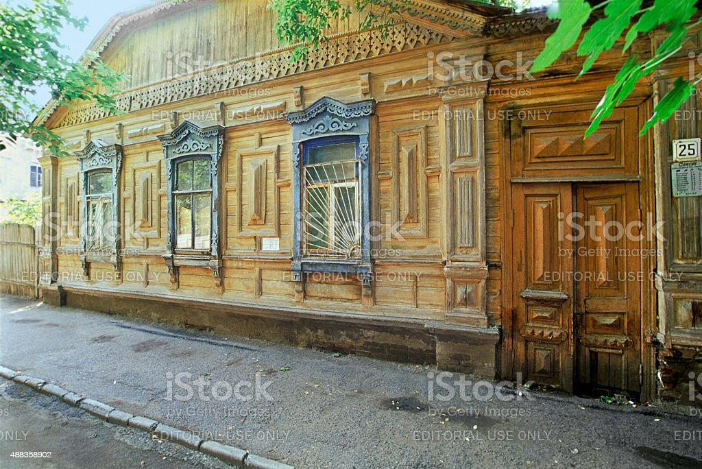 Old Russian wooden house stock photo