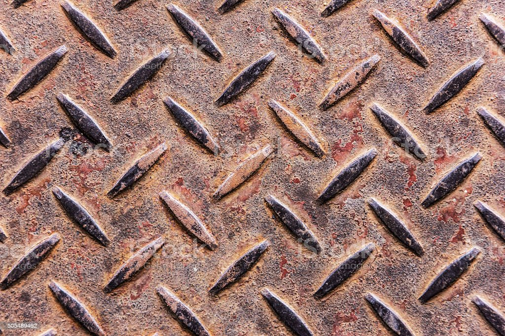 old rust metal diamond plate, background and texture stock photo