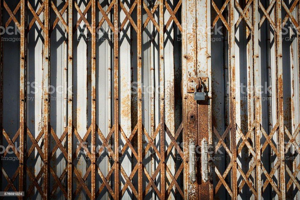 Old rust metal door stock photo