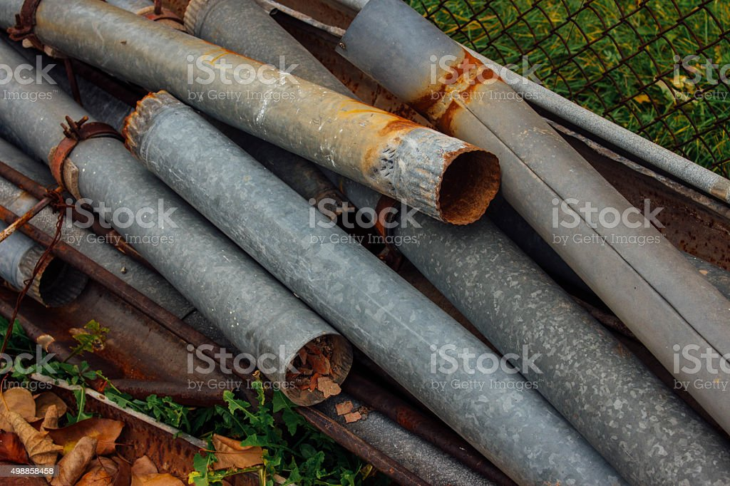 Old rust outfalls stock photo