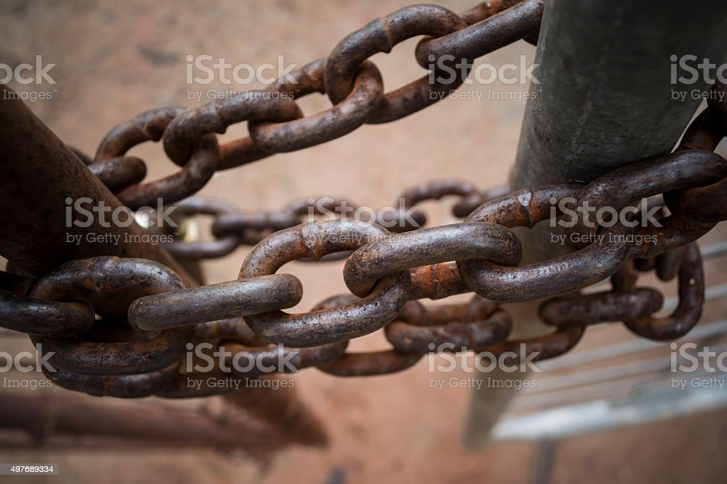 Old Rusted Chained Gate stock photo
