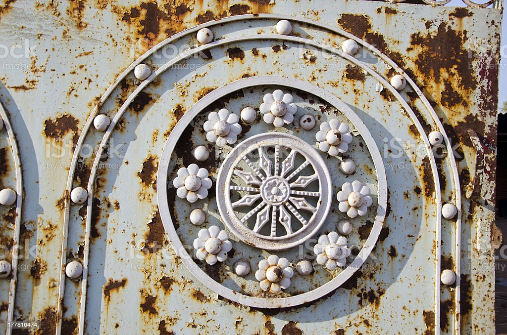 old rusted metal gate ornaments stock photo