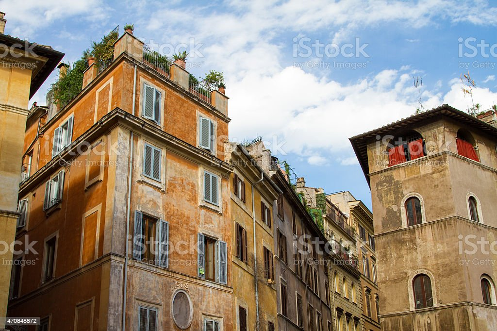 Old rustic buildings at rome stock photo