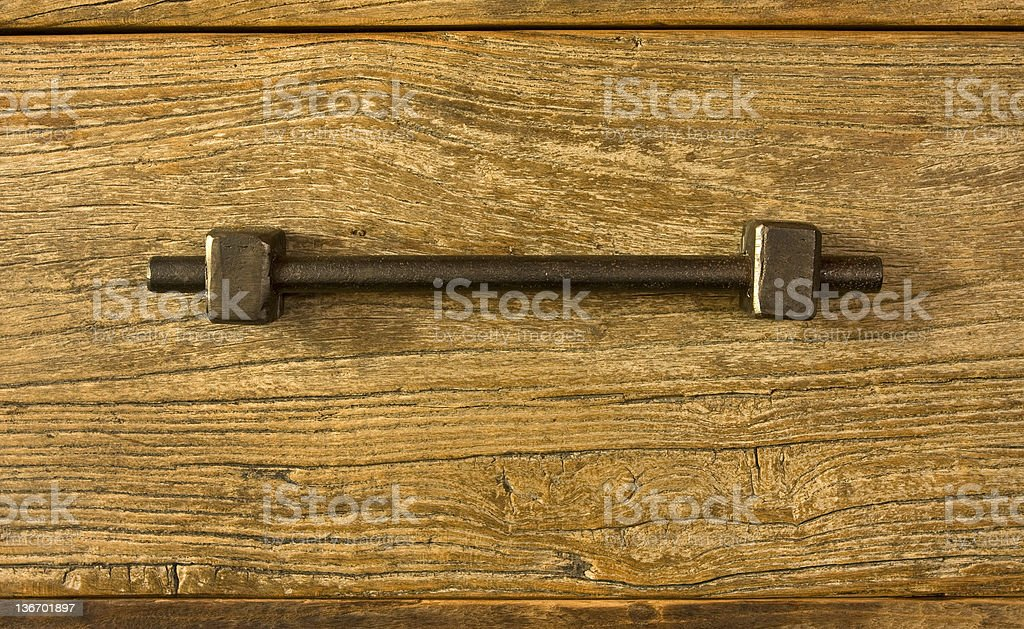 Old rustic drawer handle stock photo