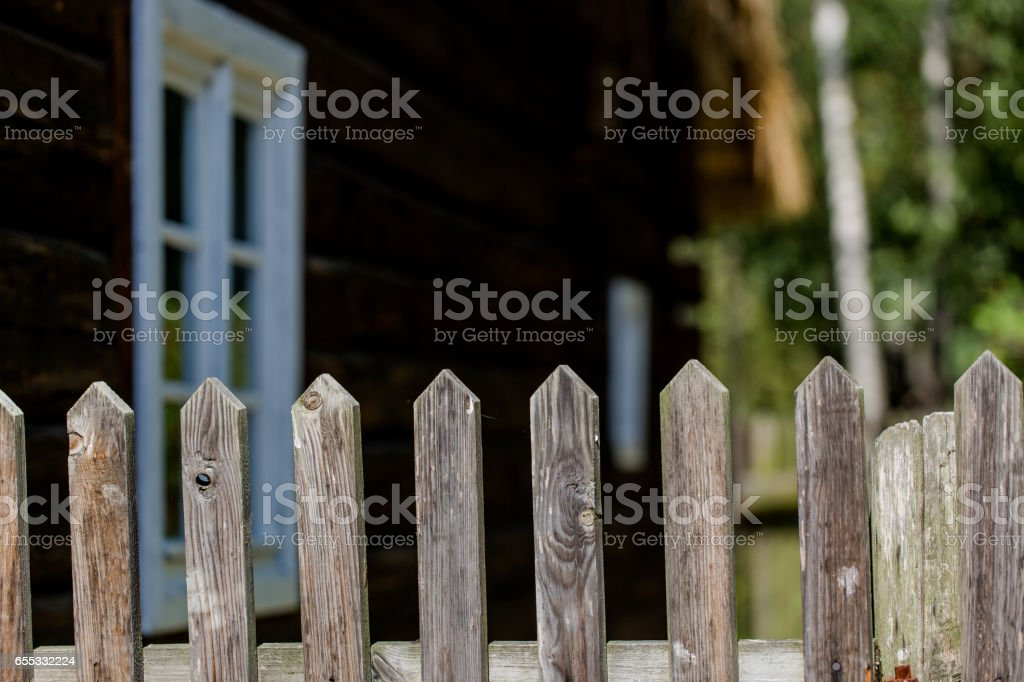 Old rustic fence on private land stock photo