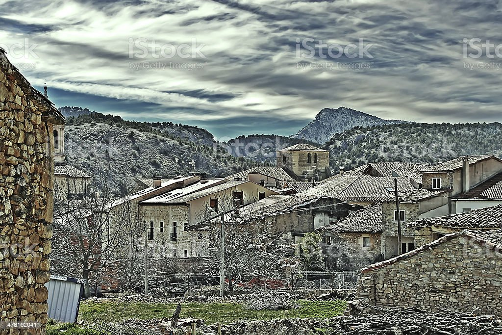 old rustic houses tourist town of Santo Domingo de Silos stock photo