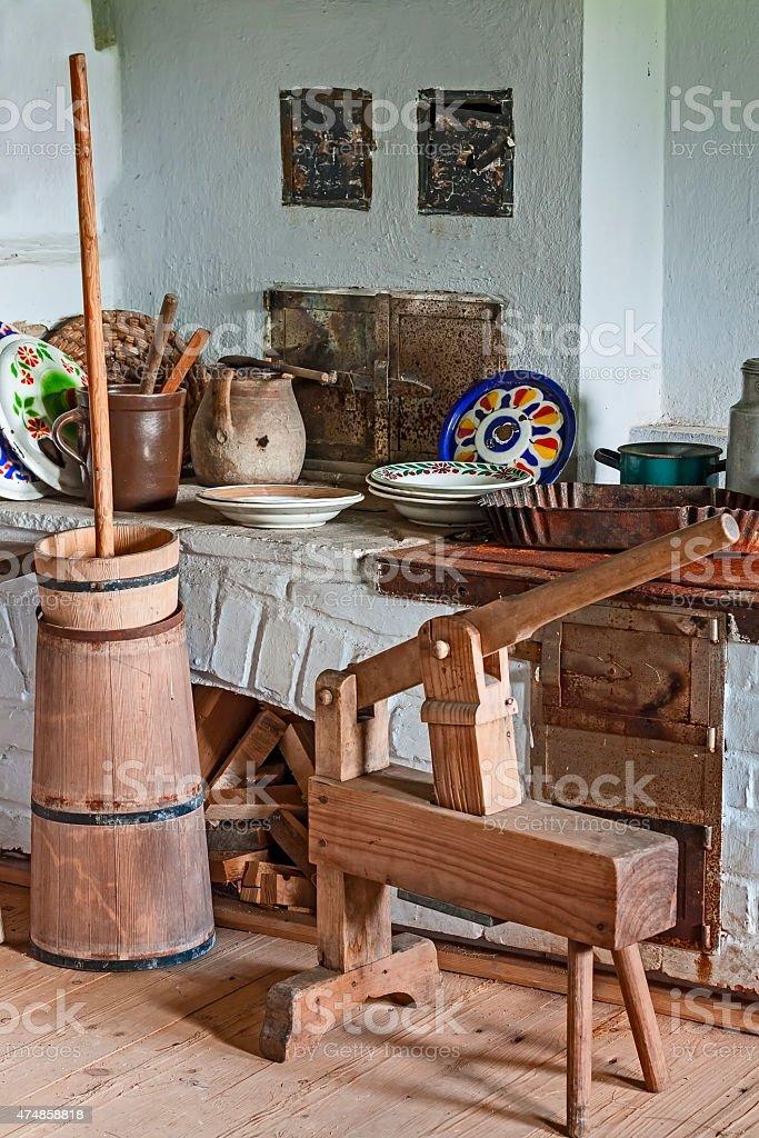 Old Rustic Kitchen Interior stock photo