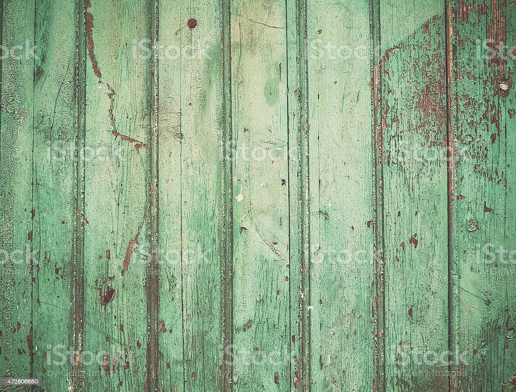 Old rustic painted cracky green turqouise wooden texture stock photo