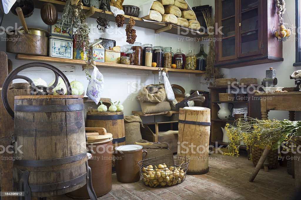 Old Rustic Pantry Interior stock photo
