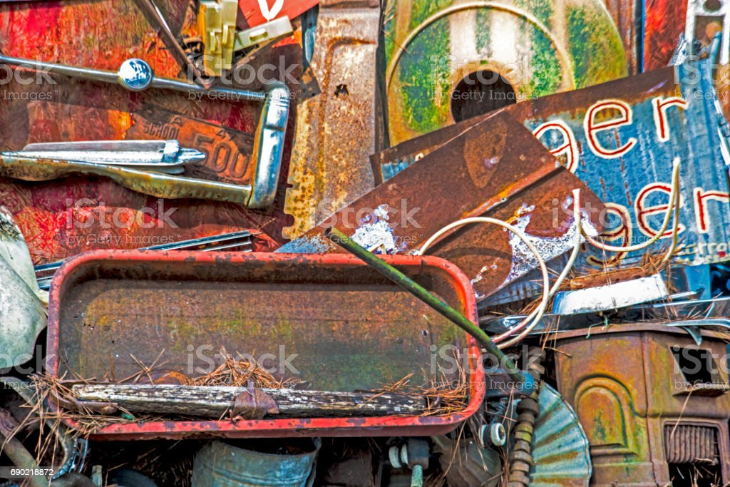Old rustic parts and pieces of cars. stock photo