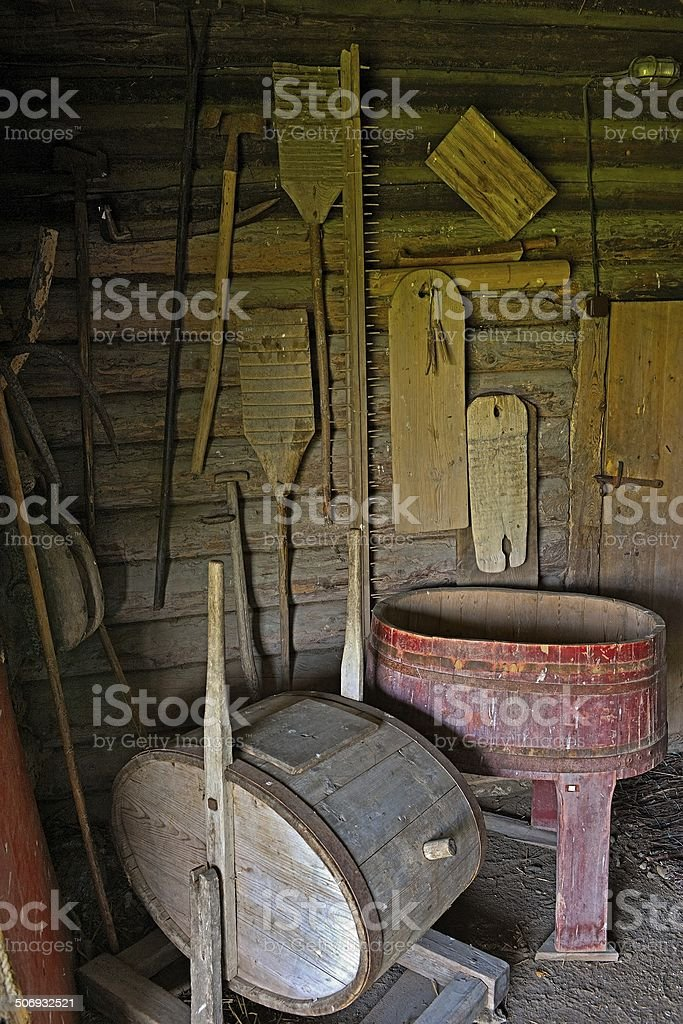 Old rustic peasant farmhouse laundry stock photo