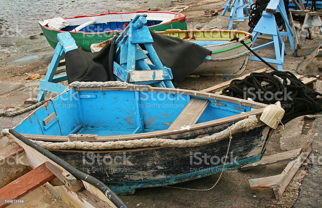 Old Rustic Row Boats royalty-free stock photo
