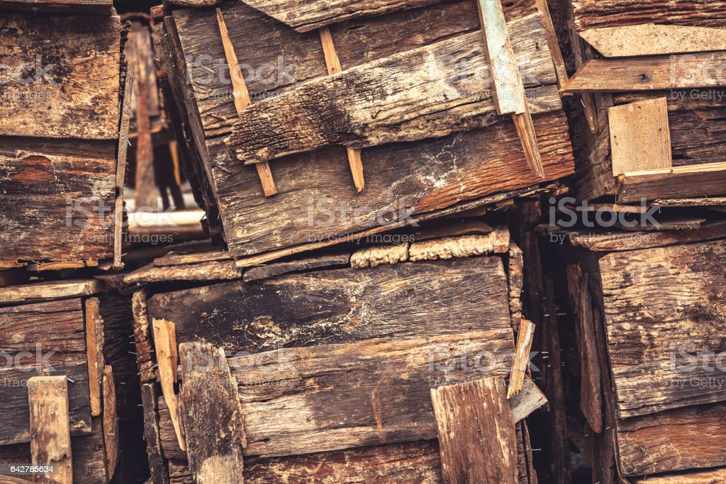 Old rustic wooden boxes background in vintage style stock photo