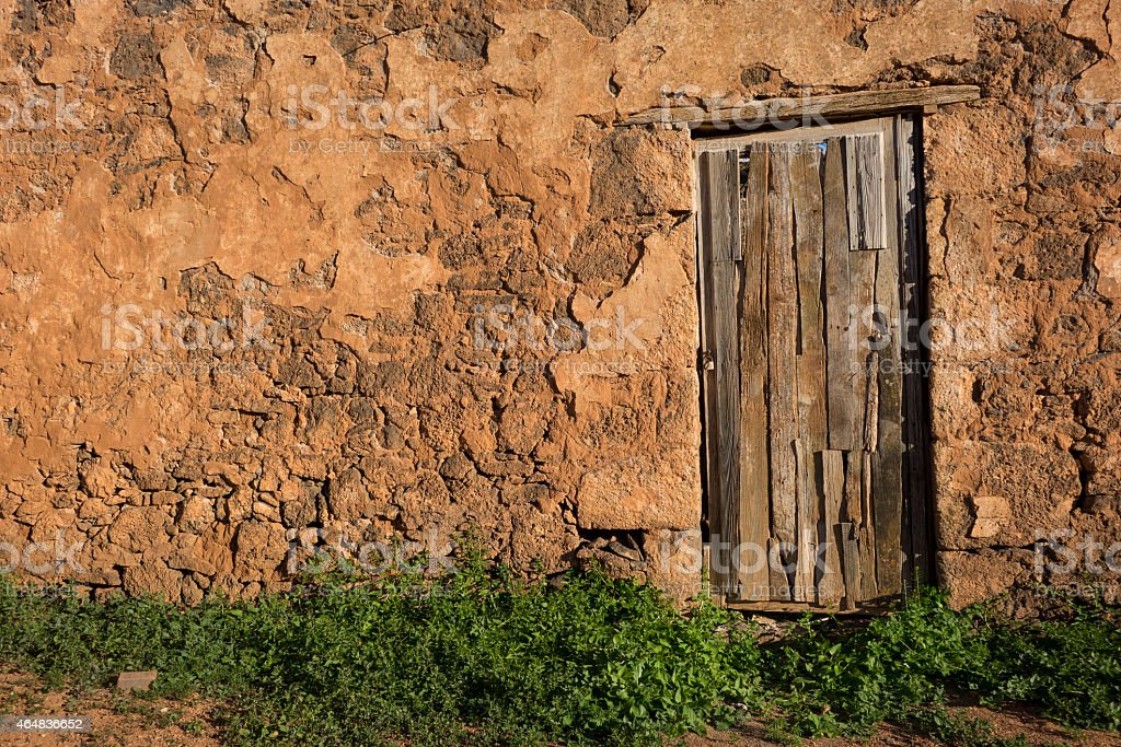 Old rustic wooden door La Oliva Fuerteventura  Canary Islands Spain stock photo