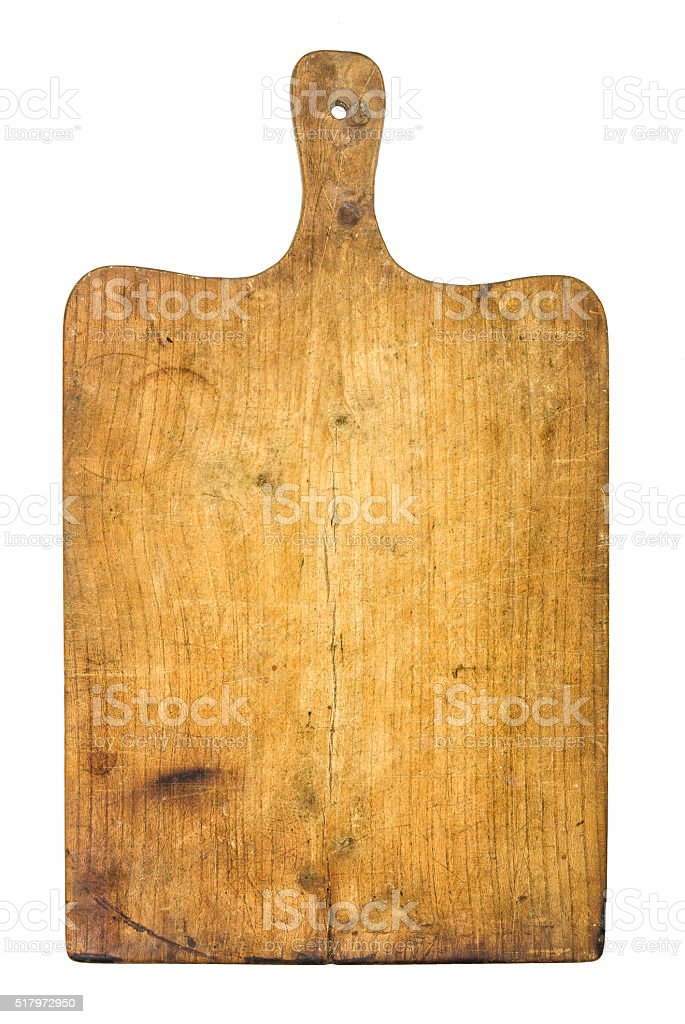 Old rustic wooden kitchen board stock photo