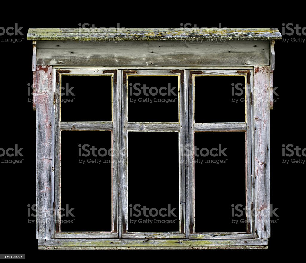 Old rustic wooden window frame royalty-free stock photo