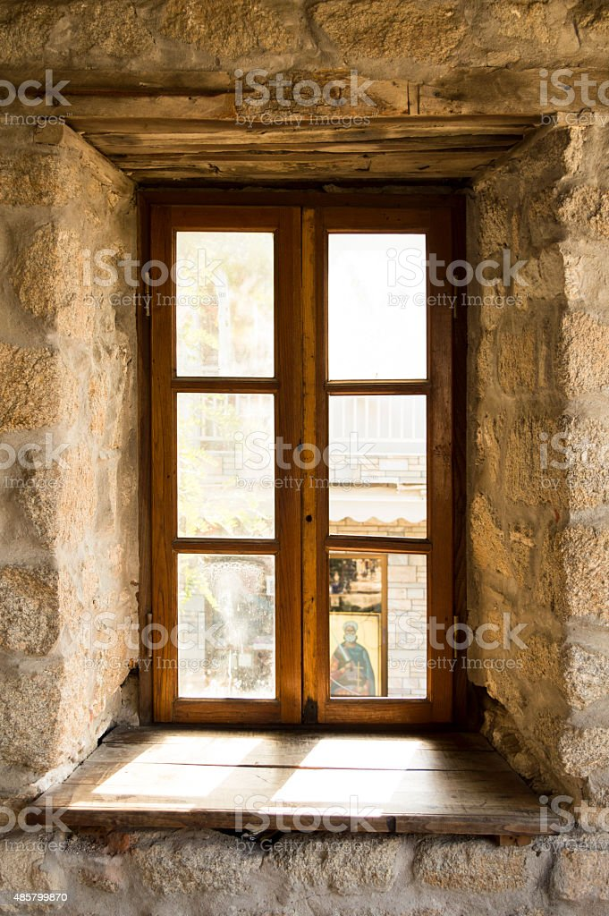 Old rustic wooden window stock photo