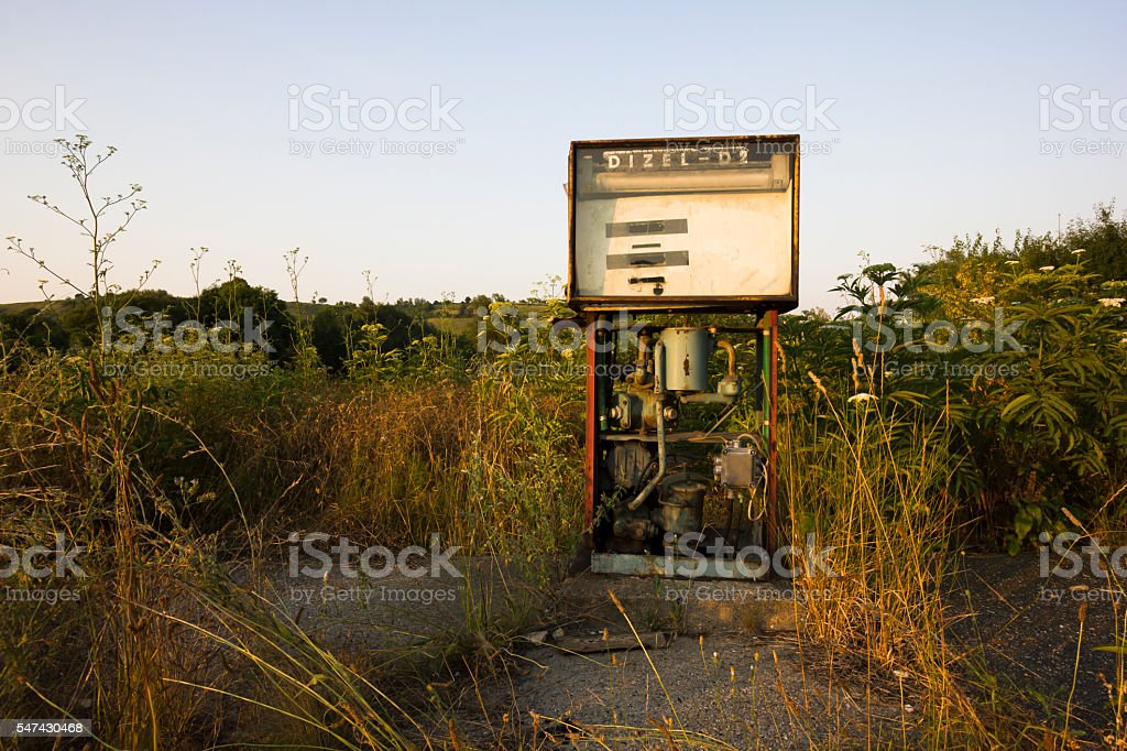 Old, rusty, abandoned fuel dispenser stock photo