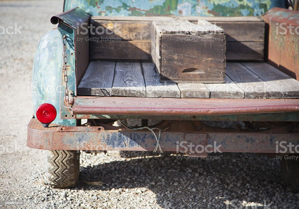 Old Rusty Antique Truck Abstract in a Rustic Outdoor Setting stock photo