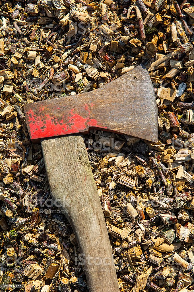 Old rusty axe on wood chips stock photo