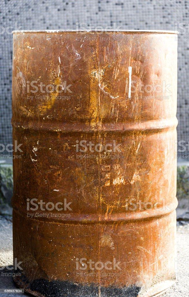 Old rusty barrel stock photo