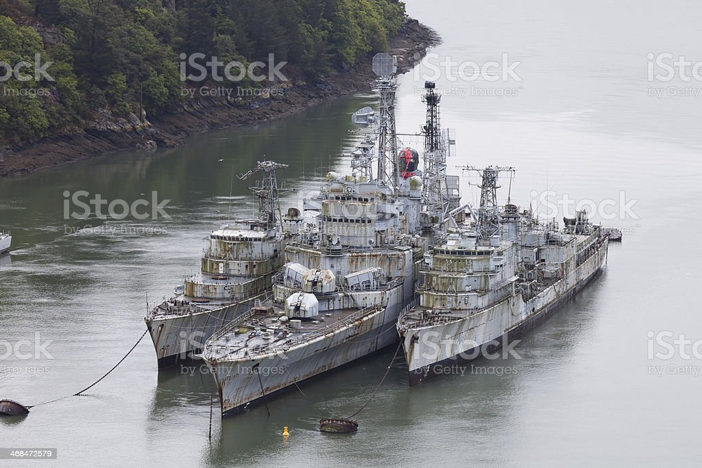 Old rusty battleships royalty-free stock photo