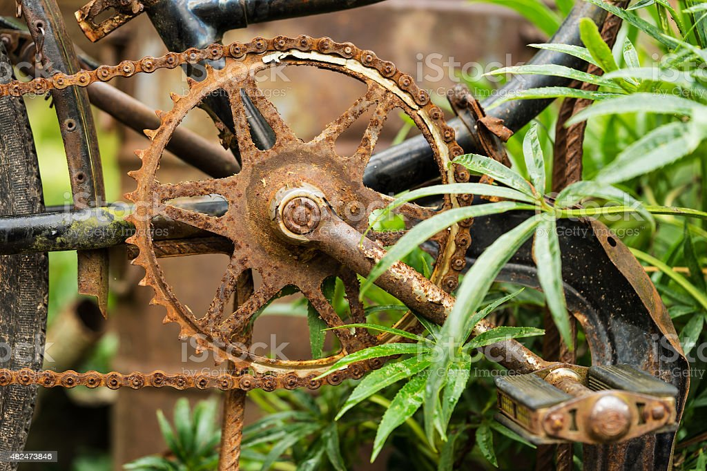 Old rusty bicycle stock photo