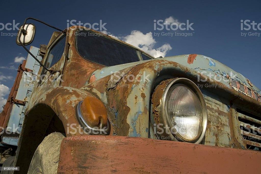 Old rusty blue car royalty-free stock photo