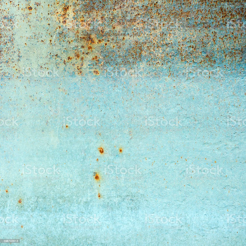 old rusty blue metal background stock photo