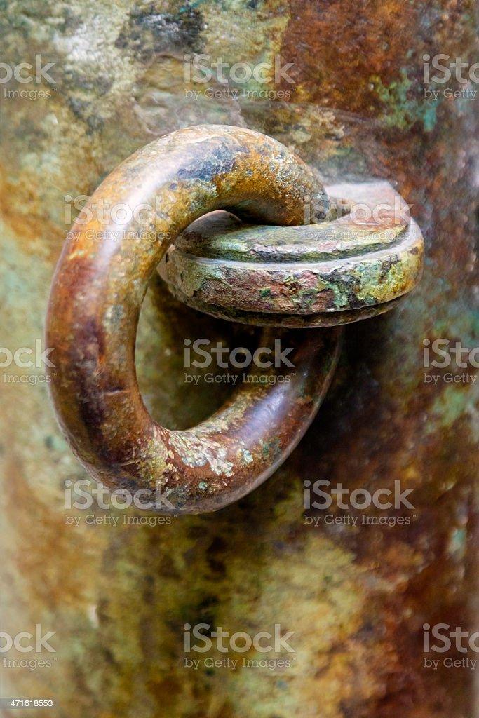 Old rusty bronce eyelet stock photo