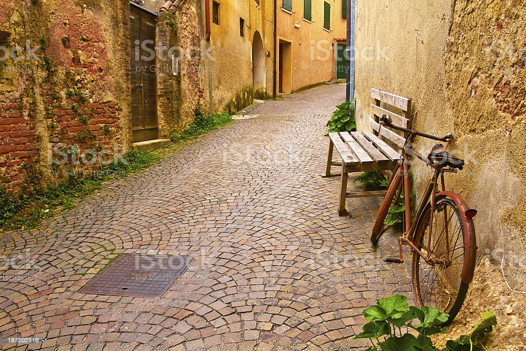 Old rusty bycicle. stock photo