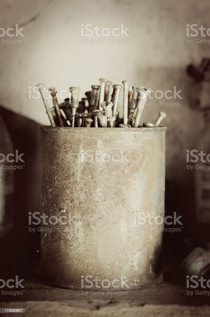 old rusty can full of bicycle rays royalty-free stock photo