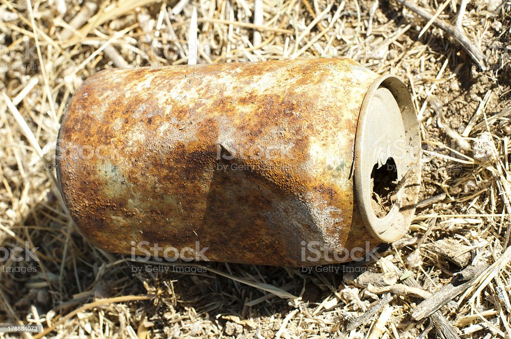 Old rusty can of soft drink royalty-free stock photo